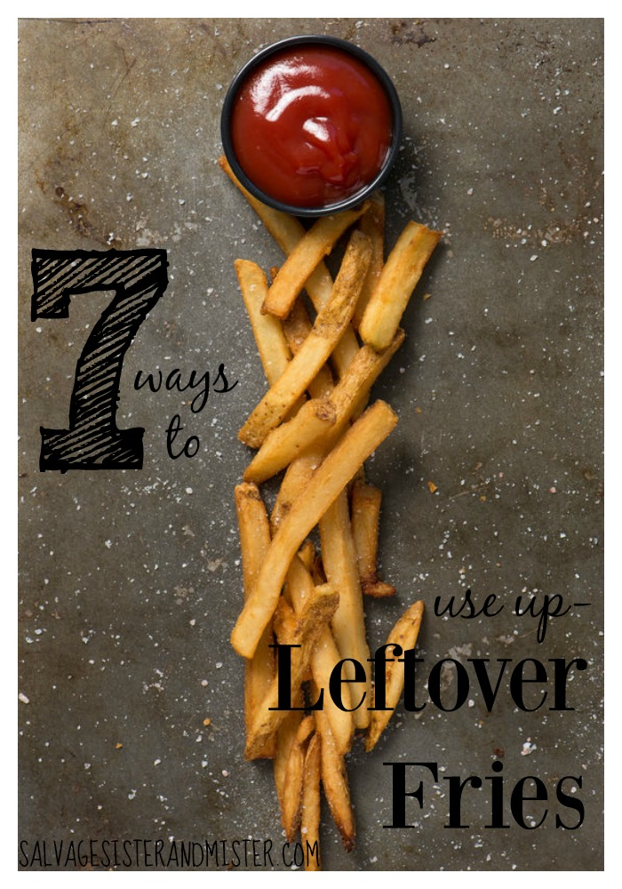 7 ideas on how to use up leftover french fries. Restaurants can serve you a ton of food. If you happen to have extra fries leftover, we have these ideas and recipes for you to try to use them up. Just like Grandma use to say, waste not, want not. Plus, it's already food you have paid for...frugal living.