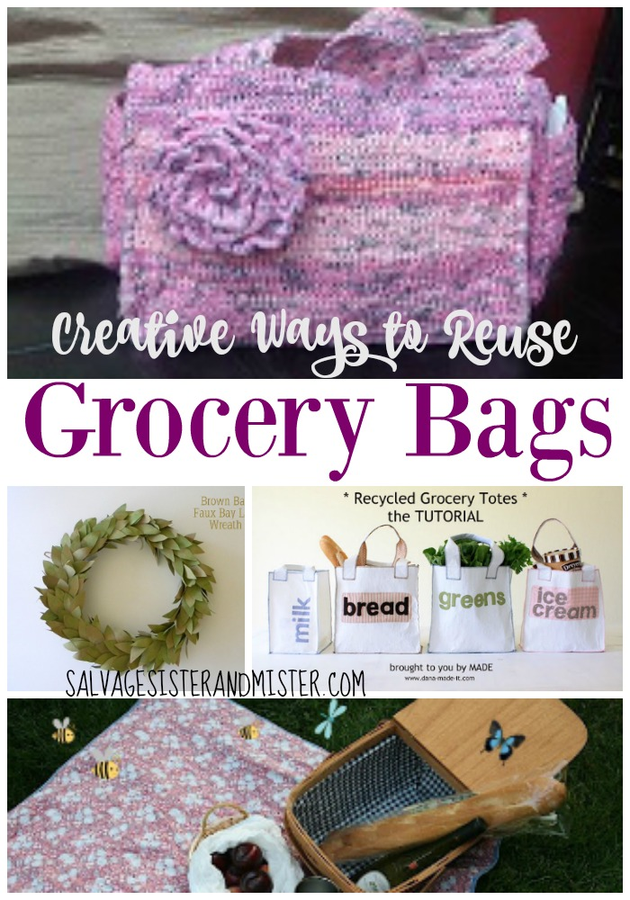 Do you have any extra plastic, paper, or reusable grocery bags around that you need to find another use for? Here are some creative ideas to upcycle or reuse these grocery bags to create a whole new item. From a faux magnolia wreath to a purse made fo plastic bags, these ideas will inspire you to create something new from something others just toss out. Waste not want not is our motto.