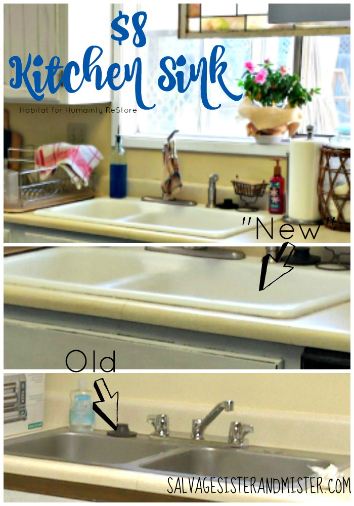 What to do when you can't afford to buy a new sink.=? You purchase a used one from the local Habitat for Humainty ReStore. For $8..yes..you can have a new to you sink and do a budget kitchen makeover. Remodeling doesn't have to break the bank.