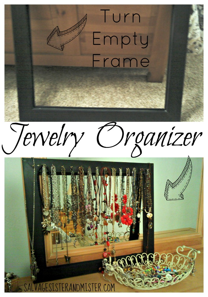 Turning a bargain empty frame into a jewelry organizer. Simple DIY project to keep necklaces from getting tangled and easy to find.