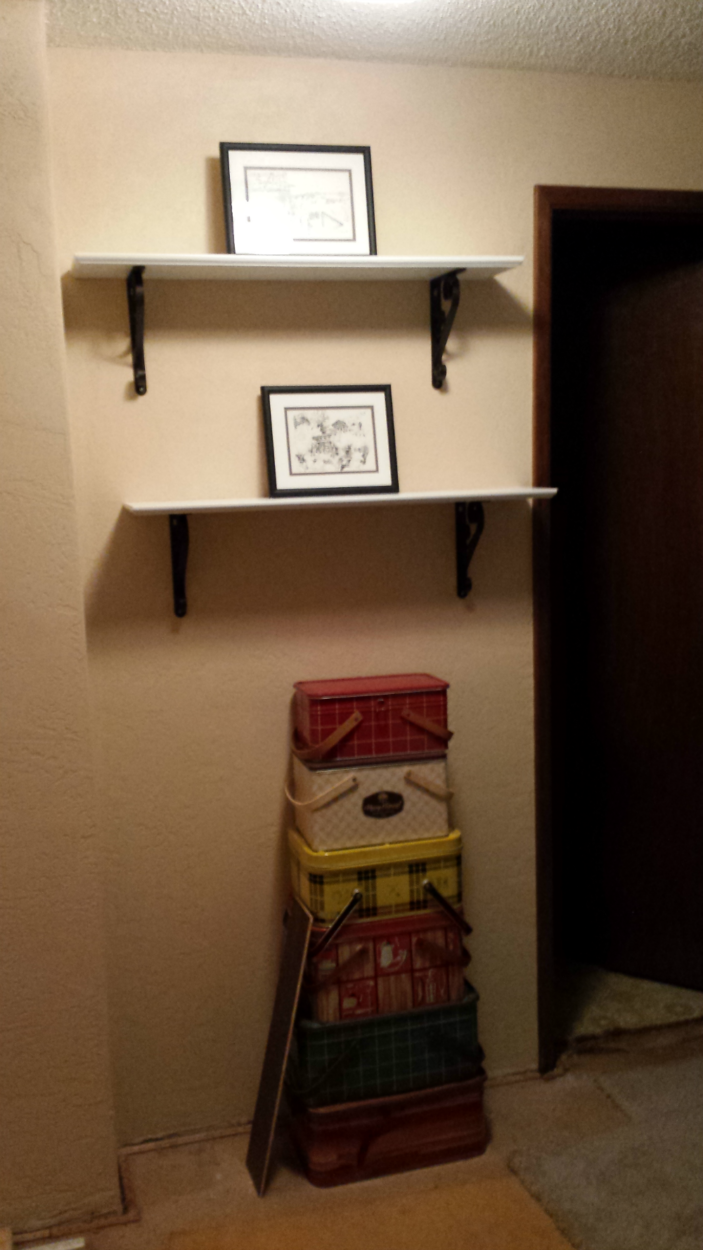 shelves with just pics