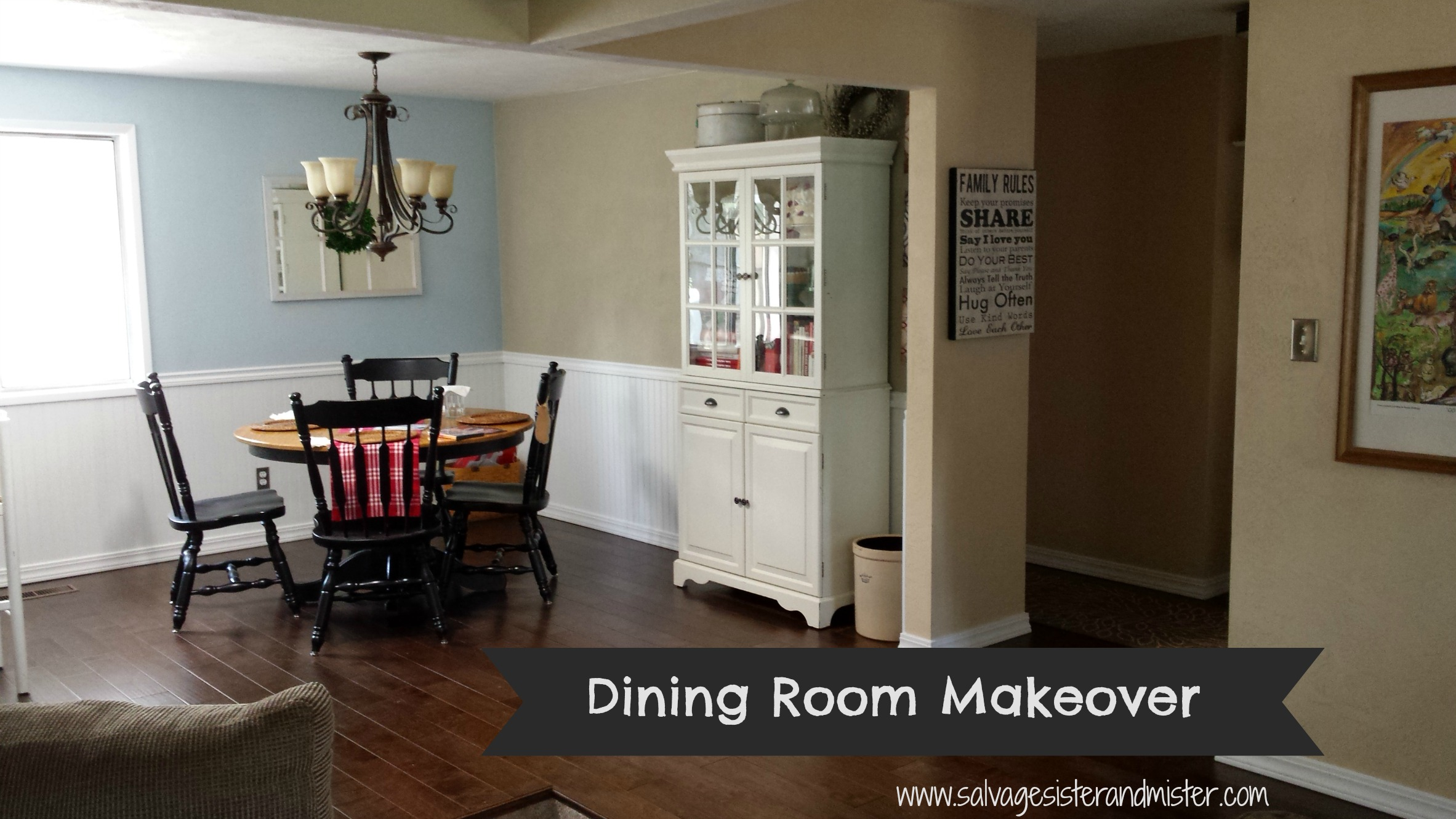 Dining room makeover on a budget salvage sister and mister for Room makeover