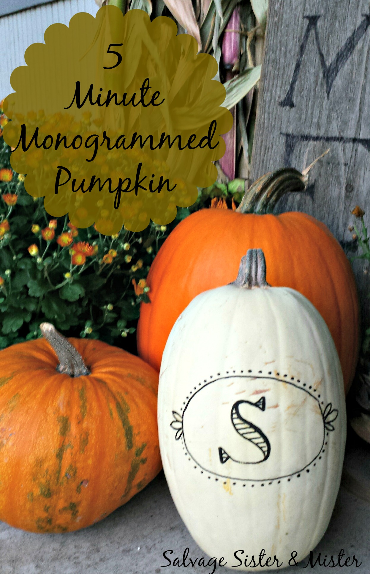 five minute monogramed pumpkin