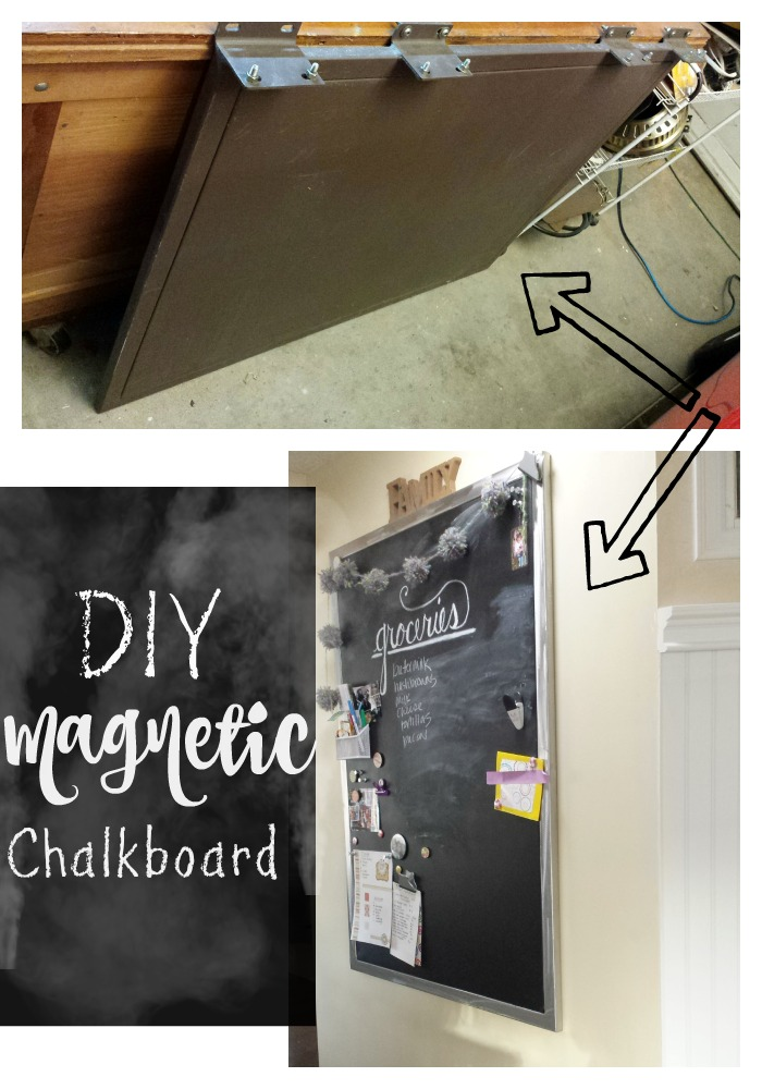 DIY magnetic chalkbaord made from a old panel found at Habitat for Humanity. The tutorial is on the site along with products used. This is a great statement piece for any home decor and busget friendly.