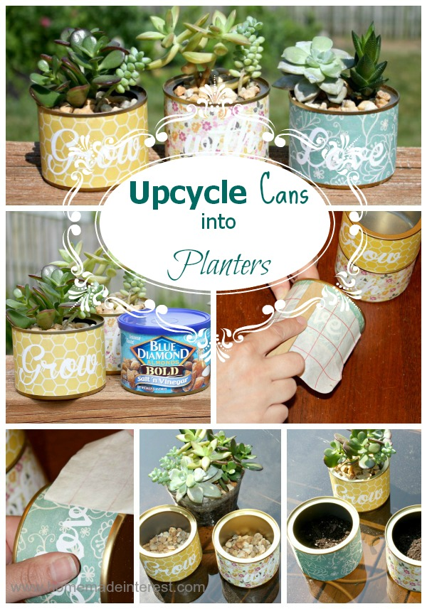 upcycled can into planters