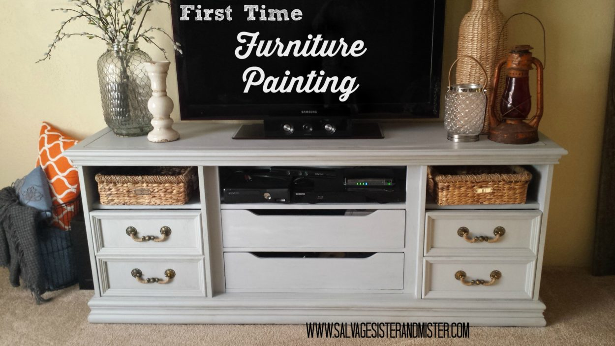 first time furniture painting thrifted dresser turned tv