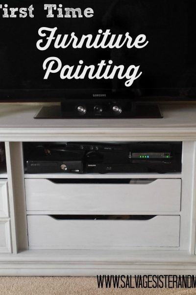 First Time Furniture Painting – Thrifted Dresser Turned TV Console