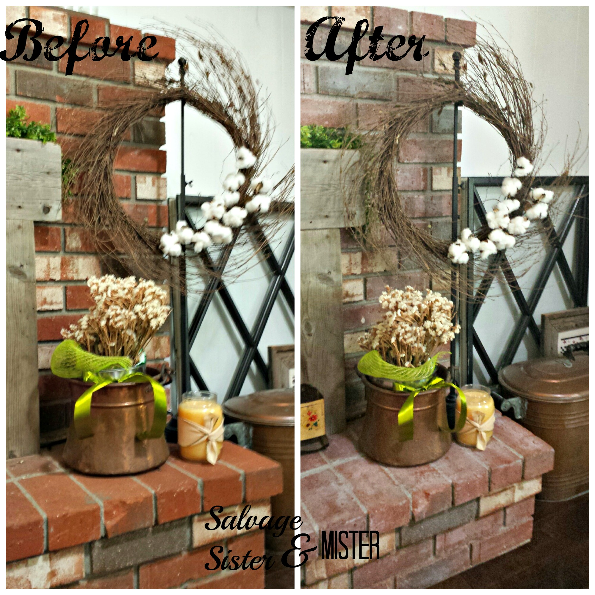 whitewash fireplace diy salvage sister and mister