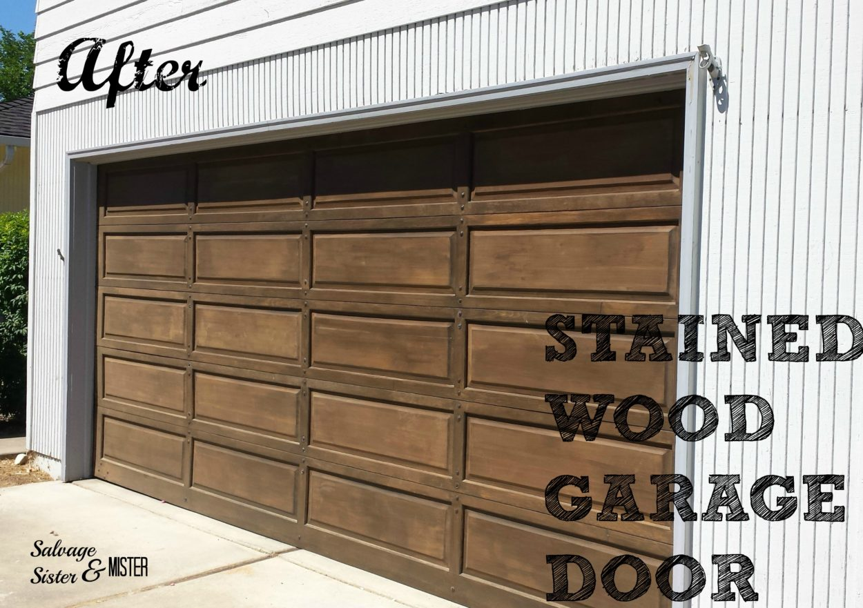 Worth the work staining a wood garage door salvage for Stained garage doors