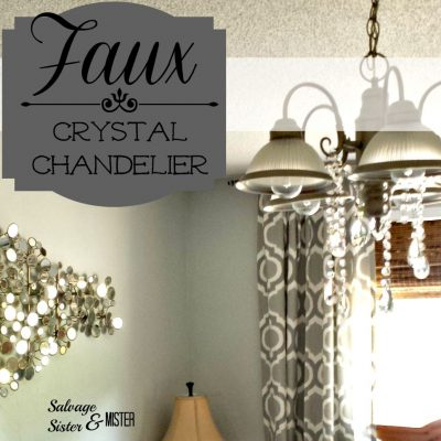 Do want to pay the price of a new crystal chandelier? What about a faux chandelier for around $30? Quick and easy way to get a similar look. www.salvagesisterandmister.com
