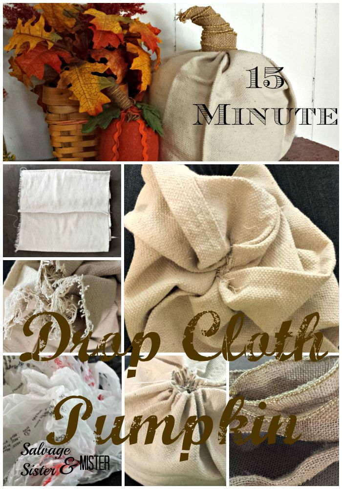 A 15 minute drop cloth pumpkin for fall using salvaged or leftover materials.  A project ANYONE can do.  www.salvagesisterandmister.com