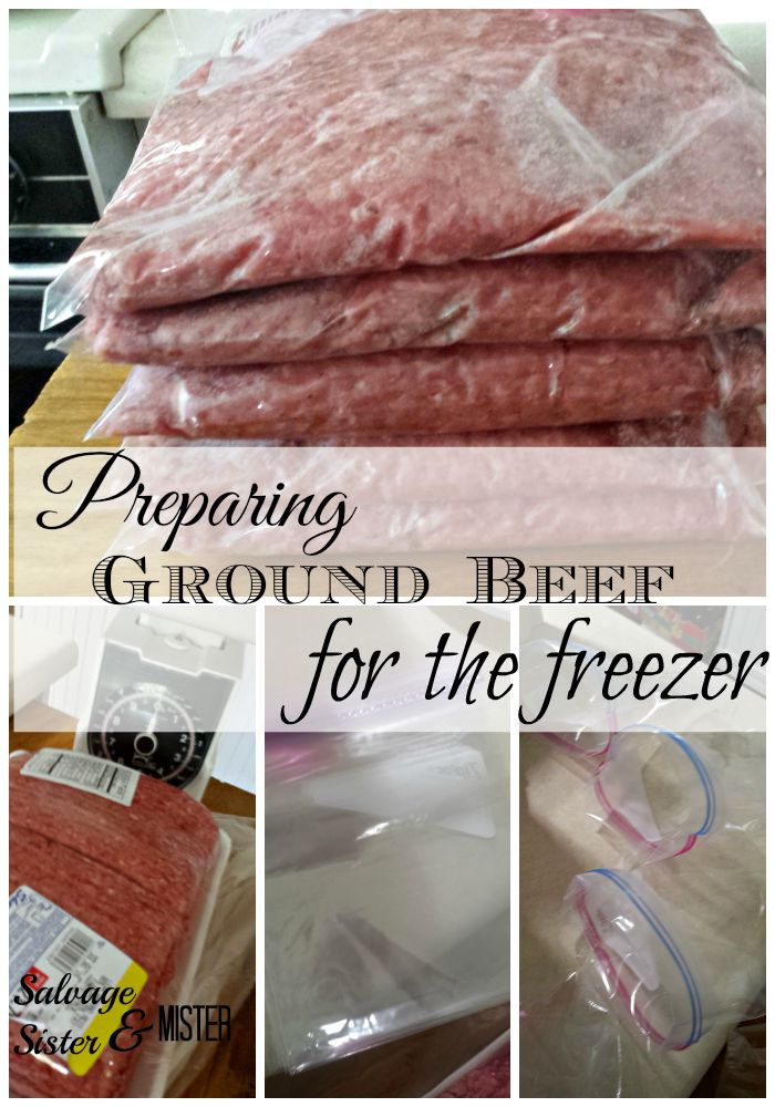 Dividing up large packages of ground beef and getting them freezer ready. Easy to store. Easy to defrost. www.salvagesisterandmister.com