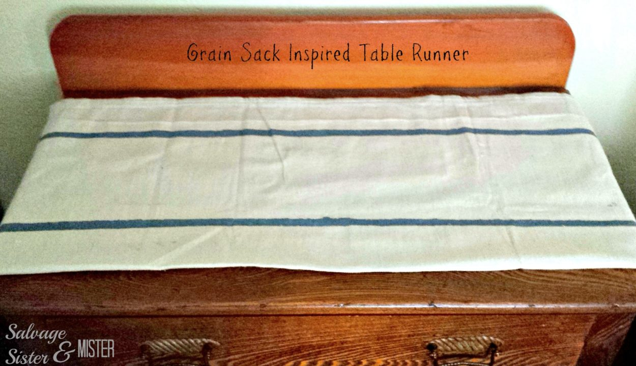 EASY DIY grain sack table runner made from leftover drop cloth. Quick and simple.