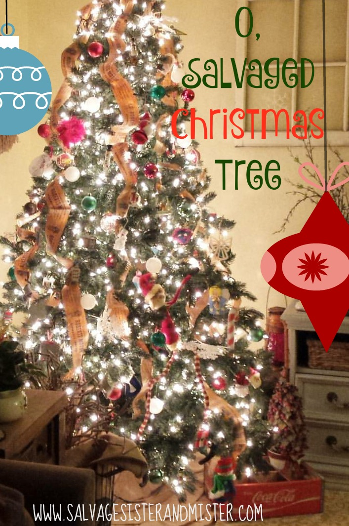 Turning a free tree into a beautiful tree using what we have.  A perfectly inperfect christmas tree.  holiday decorating made easy.