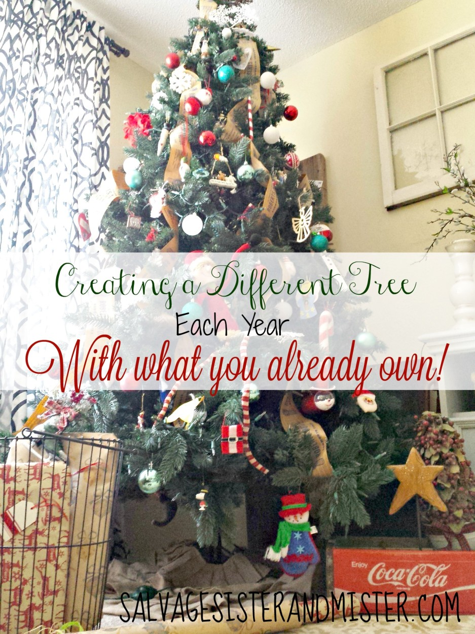 Ever want to have a different Christmas tree each year but feel like you have the same decorations?  Some tips to change your tree theme with these simple tips.  A salvage Christmas Tree story.  Using what you have to get what you want.  Christmas Tree Inspiration.
