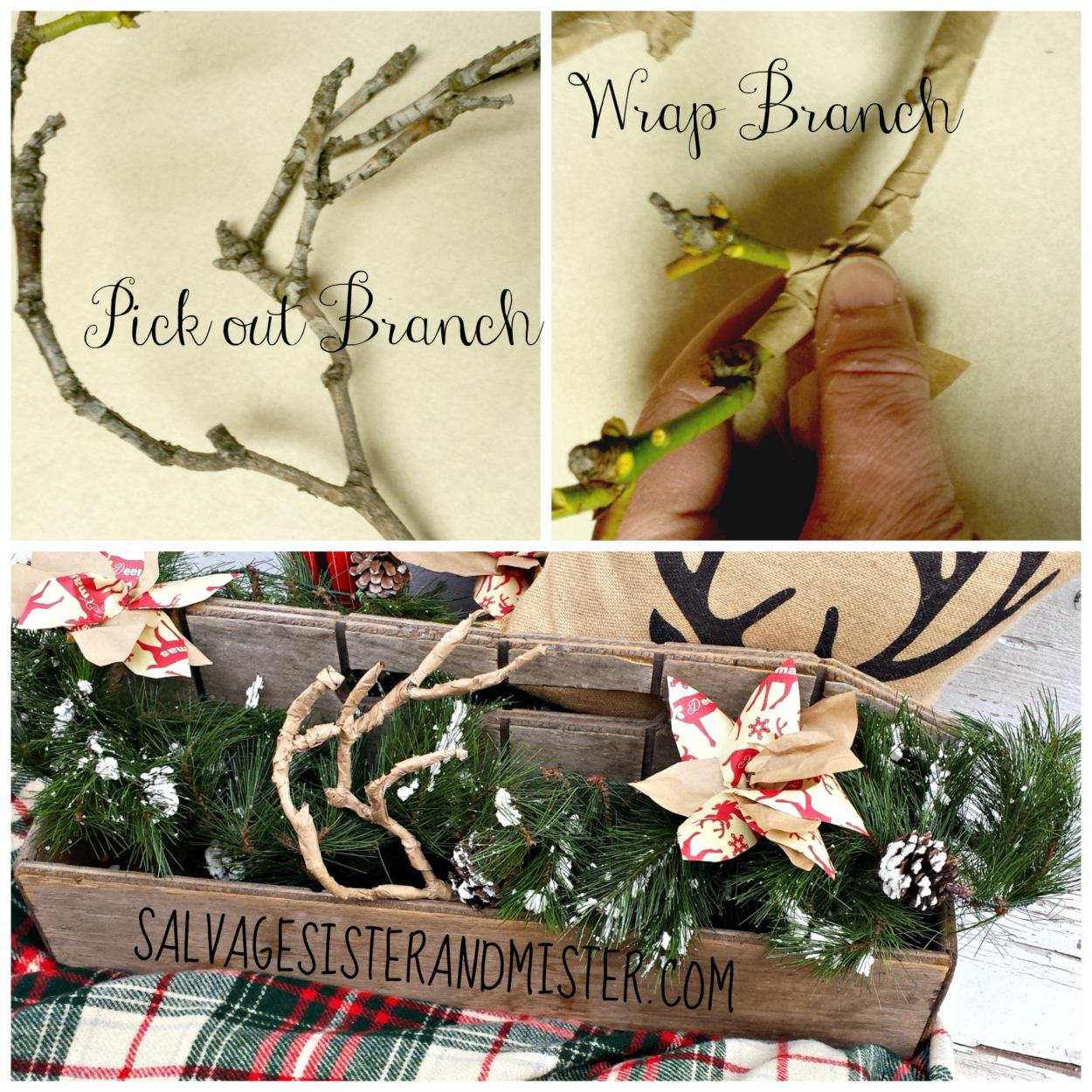 Deer antlers are a popular home decor item right now.  Want the trend but don't want to pay for it?  Here is an easy DIY tutoria on making these antlers with just items you have lying around.  Great way to reuse items you have into something useful.  Perfect for a rustic Christmas.