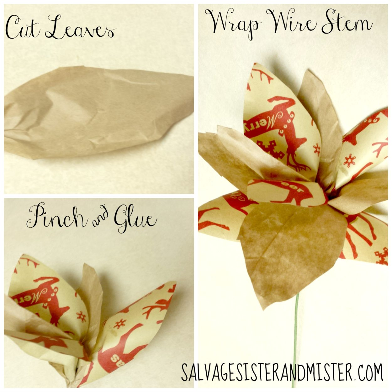 Easy holiday decor using leftover wrapping paper scraps and some packing (kraft) paper.  These beautiful poinsettia flowers can be made for any decor.  These are a rustic theme but you can change them out to another style.  Easy craft to make with supplies you have on hand.  Great addition to your holiday decor or christmas tree, wreaths, and more.