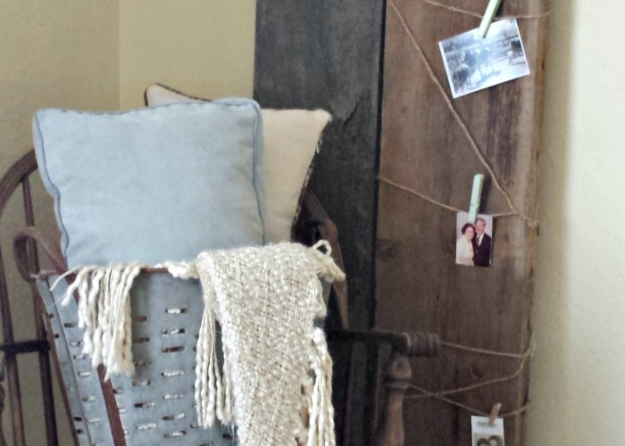 Using some salvaged wood as deocr pieces. Easy home decor when you add some twine and pictures. Find more salvaged wood projects and ideas on where to find salvaged wood in your area.