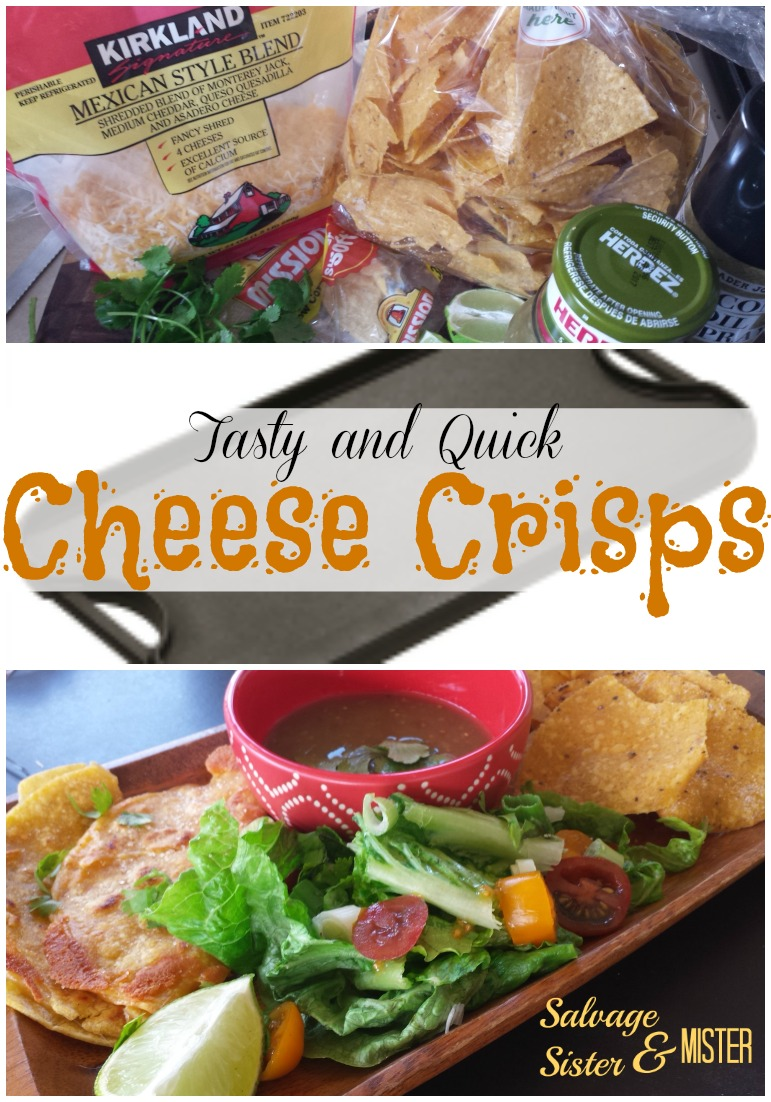 Have you ever made enchiladas and had corn tortillas leftover? Of course there are a lot of things to do with them, but often they sit in the refrigerator until they get all crumbly. Before that happens make these quick and tasty cheese crisps for dinner or an after school snack. Many people know how to make cheese crisps but these have a little something extra to make them very tasty. An easy 15 minute dinner.