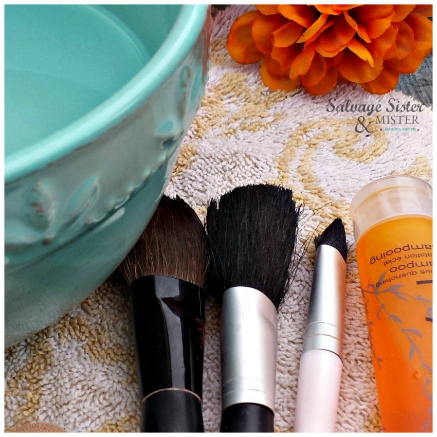 Cleaning makeup brushes using shampoo (travel hotel shamppp)  It's a great way to use up hotel shampoo samples and get clean brushes at the same time.  Get the details on this reuse idea on salvagesisterandmister.com