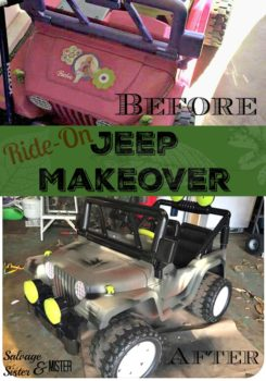 What to do when your kids want a ride on jeep toy but they are out of the budget? You hunt at yeard sales, craigslist, or thrift stores until you find what you need. Here this pink jeep was in great shape but to the boys that wanted one pink was not their first choice. Here's what was done to DIY this jeep into a toy the boys were happy with. Camouflage ride on jeep makeover was the wallet friendly answer.