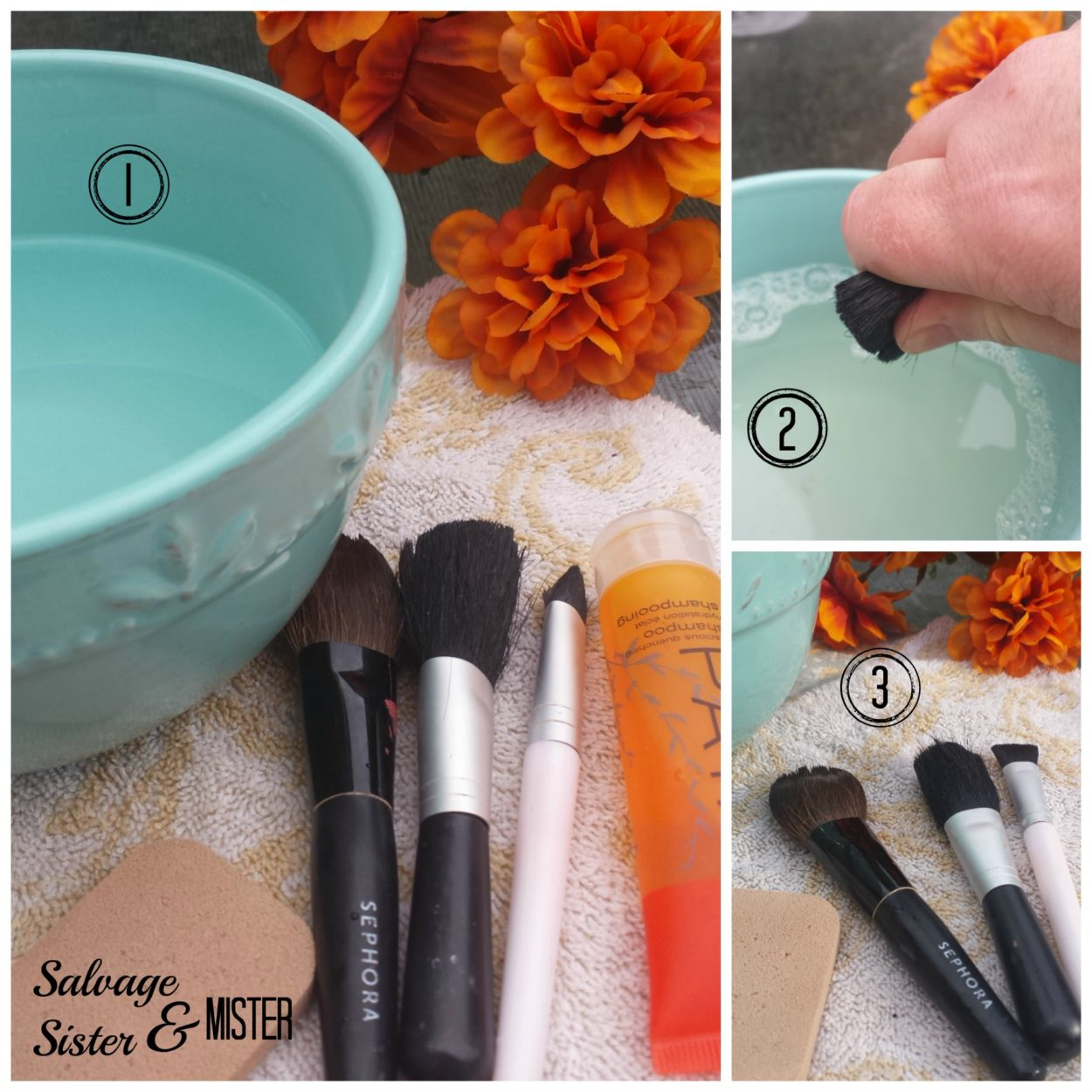 Quick way to clean your make up brushes using hotel shampoo. Do you know there is a right way to clean and dry them so they last longer? Get this tip and more ways to use what you have over at www.salvagesisterandmister.com