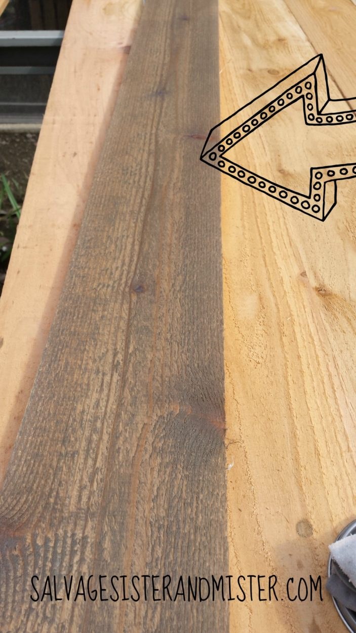 DIY reclaimed or salvaged wood. This is one piece done with a few fence posts and some stain. Find this tutorial on our site. Bargain DIY