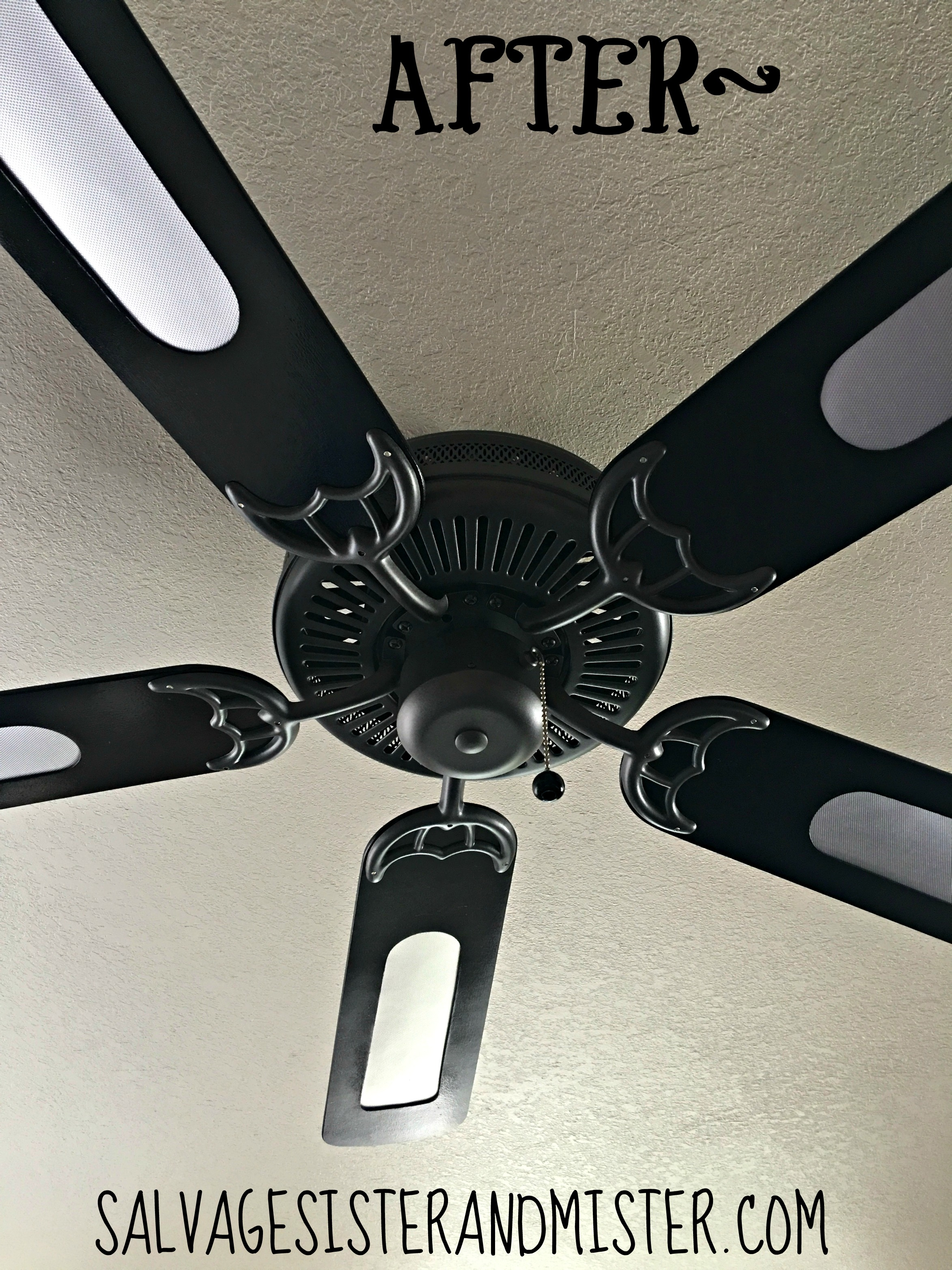 Brass ceiling fan makeover orc salvage sister and mister do you have an outdated ceiling fan for just about 10 we did this mozeypictures Gallery