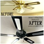 Brass ceiling fan makeover. For just a tad over $10 we transformed this dated ceiling fan into a more modern look. This DIY project took an afternon to do. The supplies needed and insstructions are on our site.
