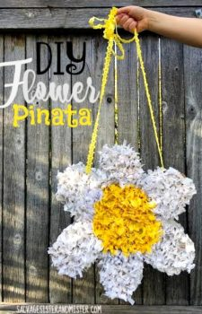Want a fun gift idea? This DIY flower pinata is not only easy to make but this was used with materials on hand (reuse/upcycle). Taking some cardboard and tissue paper it's a snap to make. Get your kids involved for a fun craft day. This is great for Mother's Day, birthdays, wedding or baby showers, or just a girls night out or girls night in. Great and inexpenisve present for the special lady in your life.