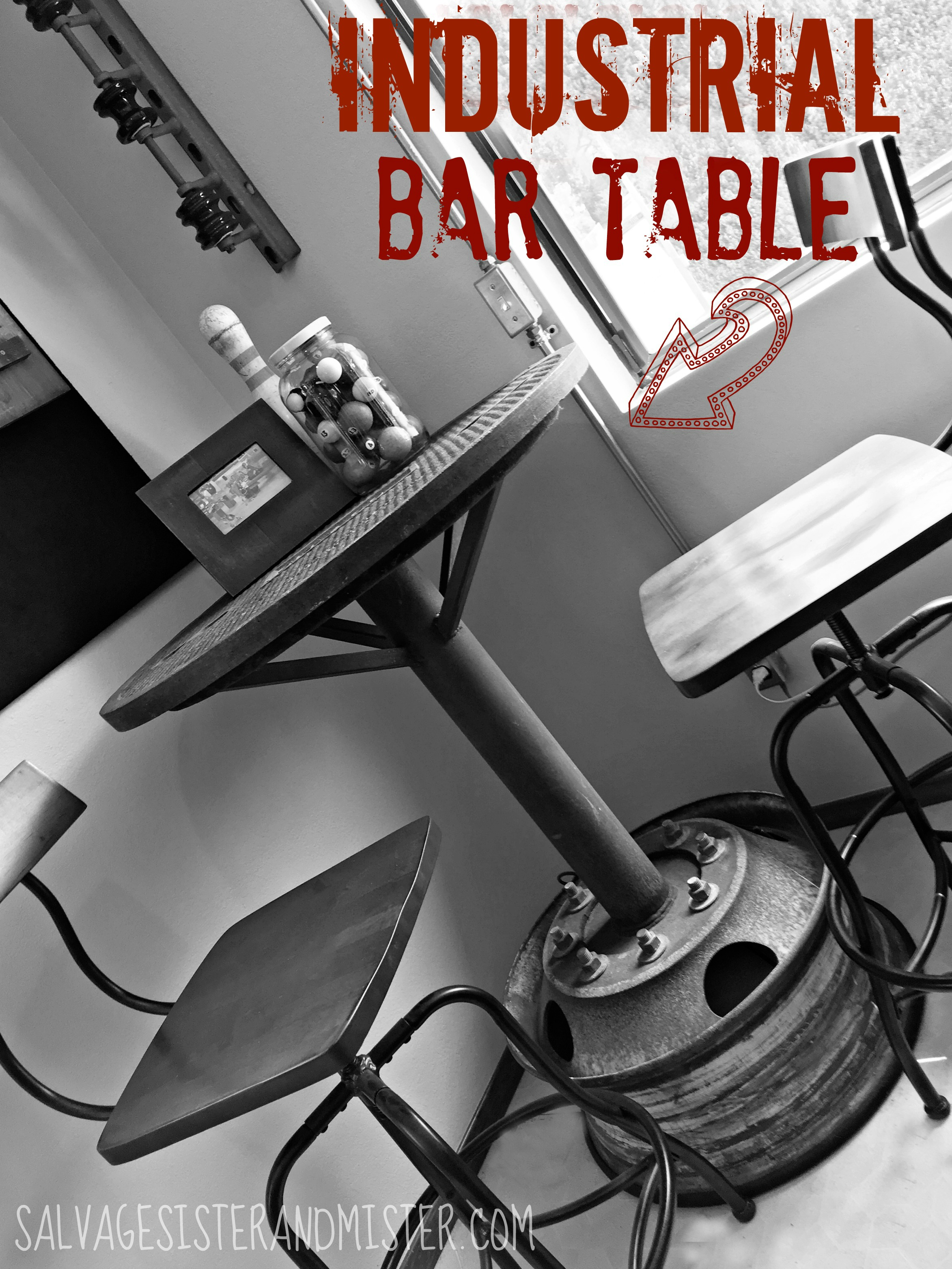 An upcycled manhole cover becomes a industrial bar table for a man cave/game room. This DIY project is one we made something with what others threw out. Waste not want not. Project requires welding. Project done for the One Room Challenge