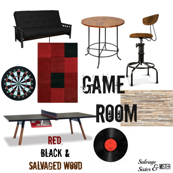 Participating in the ORC (One Room Challenge) Calling it Home, with our Game Room Makeover. This is the inspiration board we are going for. Salvaged or reclaimed wood, ping pong table, dart board, red and black. This DIY will be on a budget. Come join us each week to see how we are doing.