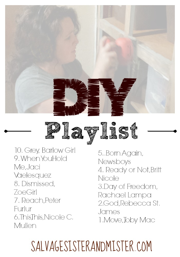 Need some music to jam to while taking on your latest DIY project? Here are these top 10 favorite songs from the past and present. These songs will get you fired up and are inspiration based. Songs from Toby Mac, Rebecca St. James, Peter Furlur, Newsboys, and more. Crank up the sound and let's get busy!