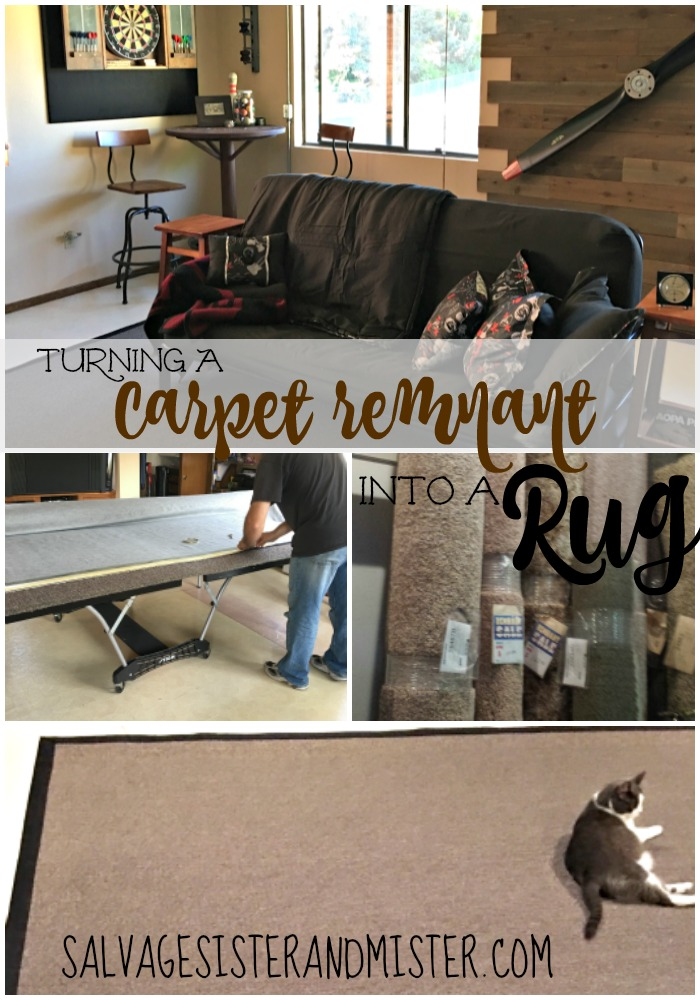 When you need a large area rug but they are too expensive - here is how to turn a carpet remnant into a rug. Inexpenisve DIY. This tutorial is how to DIY the binding so the edges don't frey and the rug is finished.