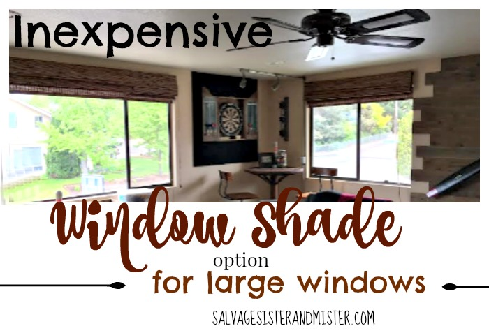 An inexpensive window shade option for large windows. Window treatments are expensive! We found a cheaper way to cover those windows instead of ordering custom shades. The cost was over a 50% savings. Now our game room windows are covered. Join us as we make over this game room for the One Room Challenge on a budget.