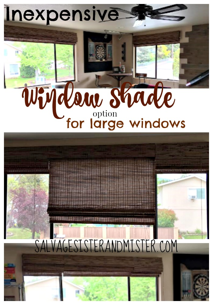 Do you need a window shade for a large window? Instead of custom shades which are very expensive, we found a much cheaper alternative. Inexpensive window shade option for large windows.