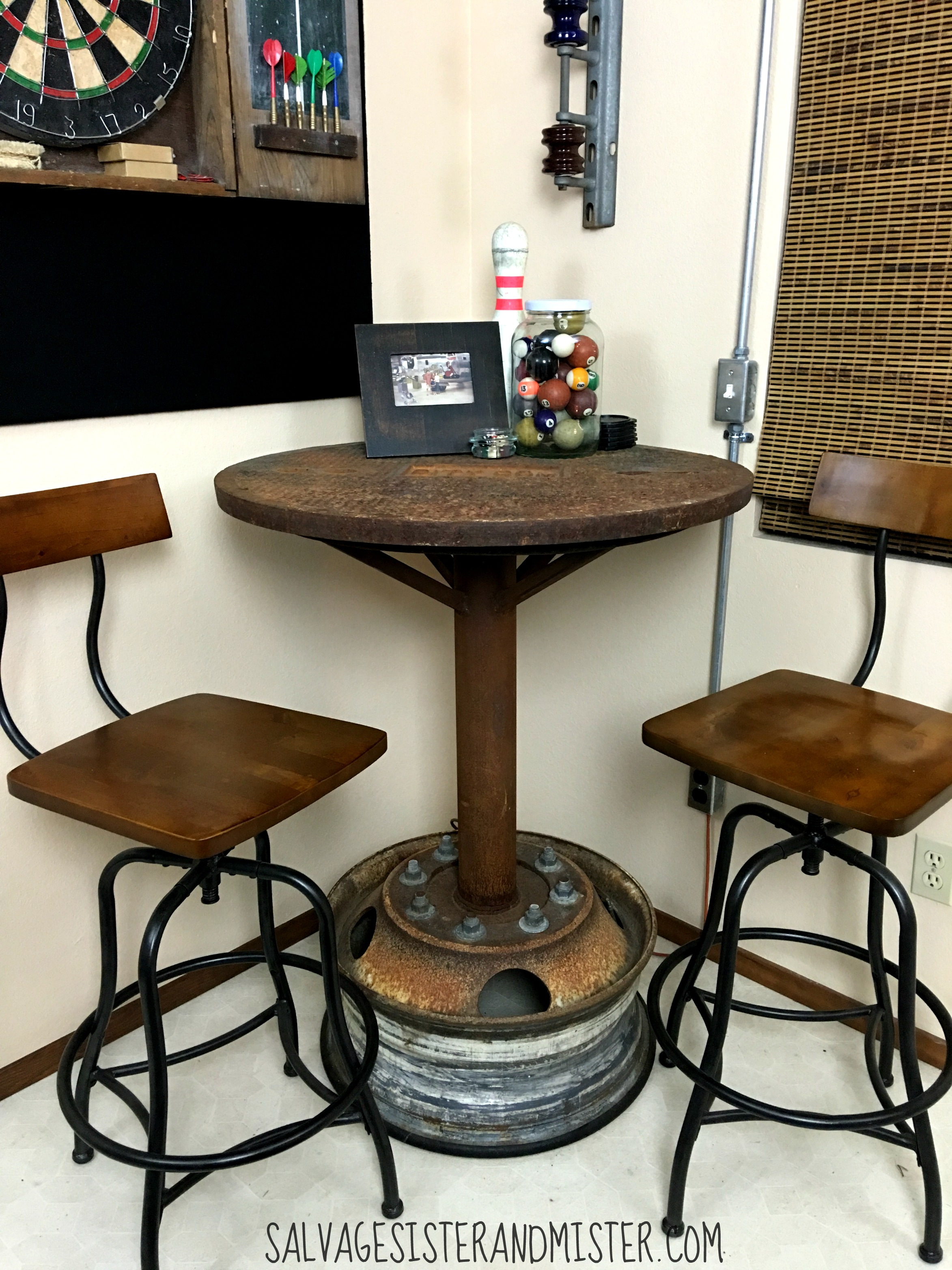 Industrial bar table game room orc salvage sister and mister - Kitchen bar table ideas ...