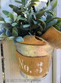 DIY farmhouse galvanized bucket after backyard WATERMARKED