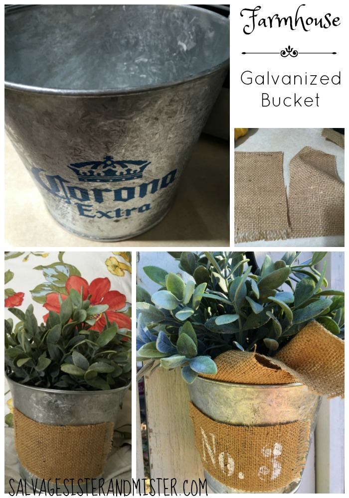 Farmhouse galvanized bucket from a $1.00 thrift store item. Farmhouse style is all about making the most with what you have so it shouldnt be expensive. Here is a thrifted item that was an easy diy to this farmhouse style bucket that is a great home decor item in or outside. It's an easy project with items that I had on hand.