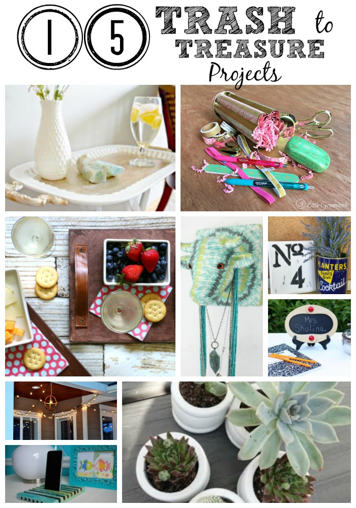 "15 bloggers exchanged thrift store items. Come and see how we took these bargain items and turned them into treasures. It's true what they say, one person't junk is another persons treasure. Be inspired be all these great projects and create something ""new"" today. Included teacher gifts, farmhouse decor, jewelery organization, planters, outdoor lighting, home decor and more."