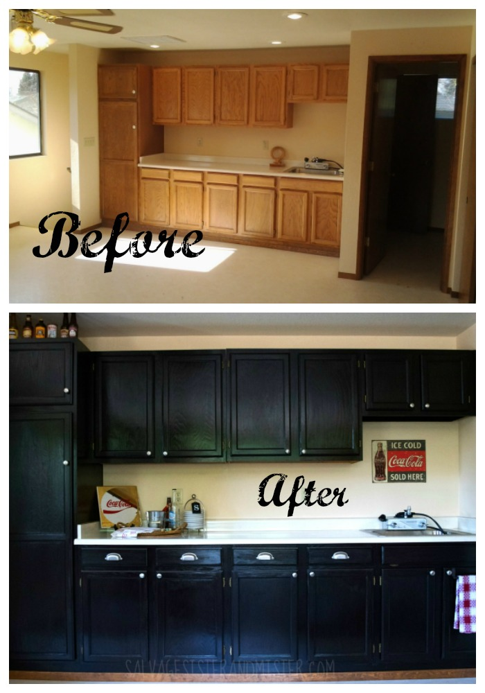 Before and after using java stain. This DIY project sure is an inexpesive way to update outdated cabinets. We have used this product several times and have 20 java stain tips to help you with your next project.