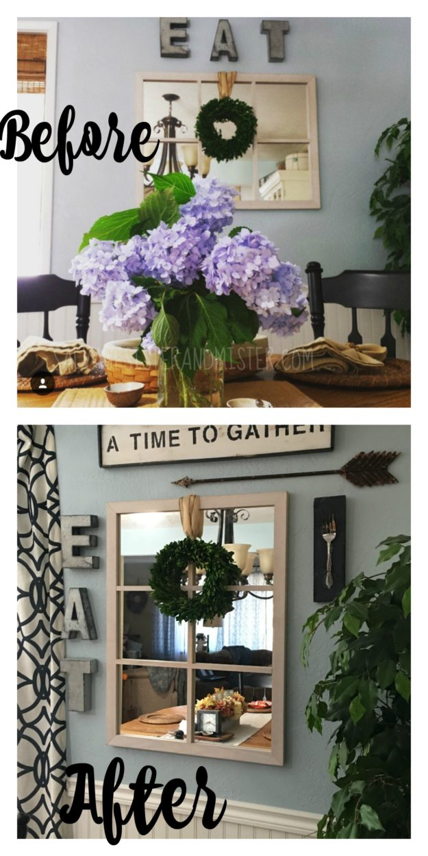 Before and after of our dining room wall. Plus a diy for the fork plaque made with all items we already had. Shop your house.