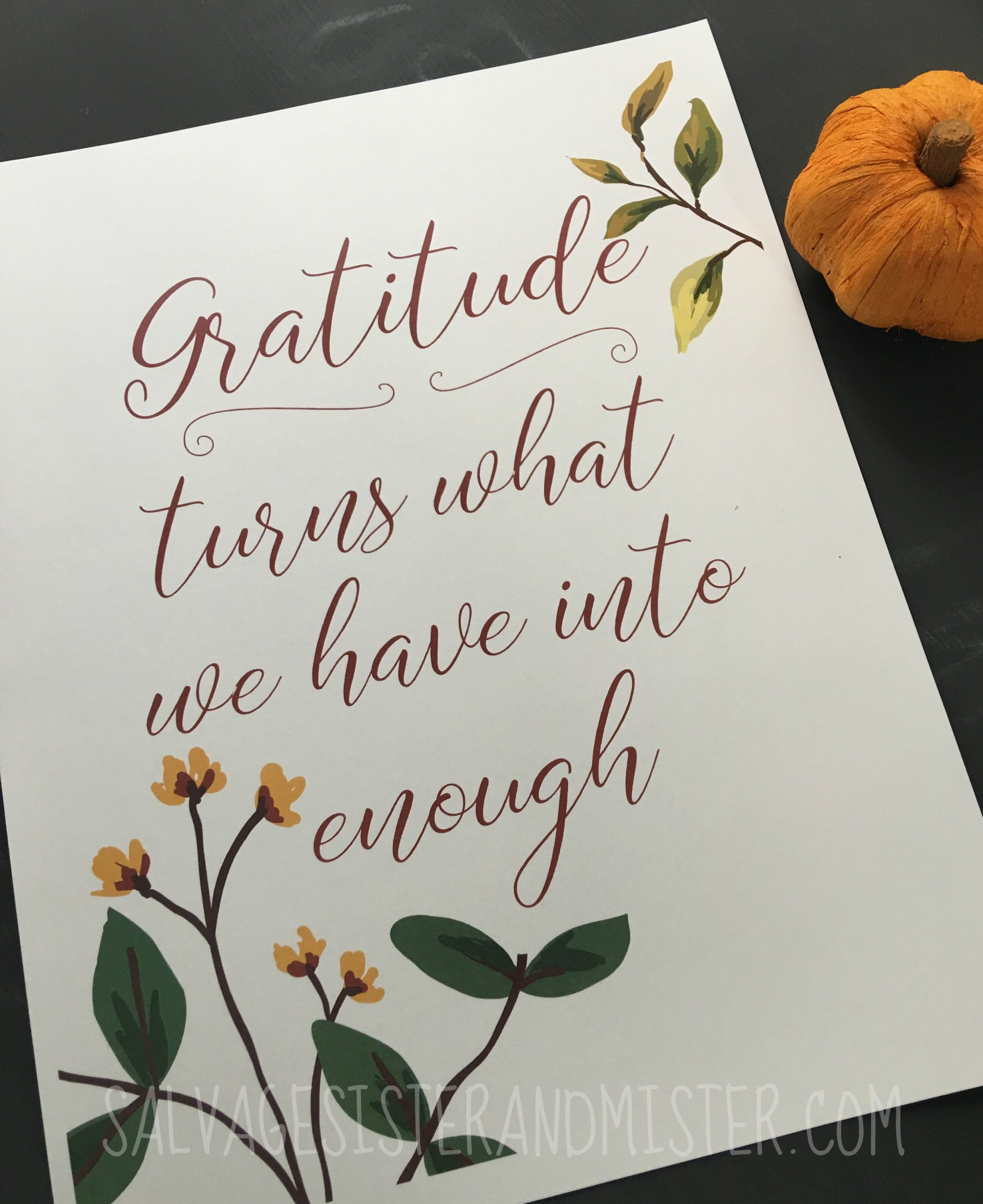 Free fall gratitude printable.  This is a great reminder that gratitude turns what we have into enough.  Fall home decor, thanksgiving, thankful