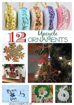 Want to make some homemade ornaments? Here are 12 upcycle ornaments that you can make using a lot of what you have around the house and a little creativity. This is a fun diy project with friends or your kids. Craft a fun Christmas.