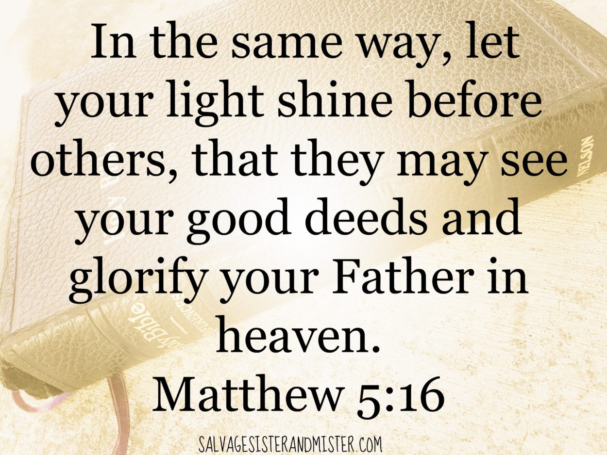 Be the light challenge. Matthew 5:16 Share God's love with all. It's a social media challenge to be God's light not only during this election time but all year long. Take the challenge!