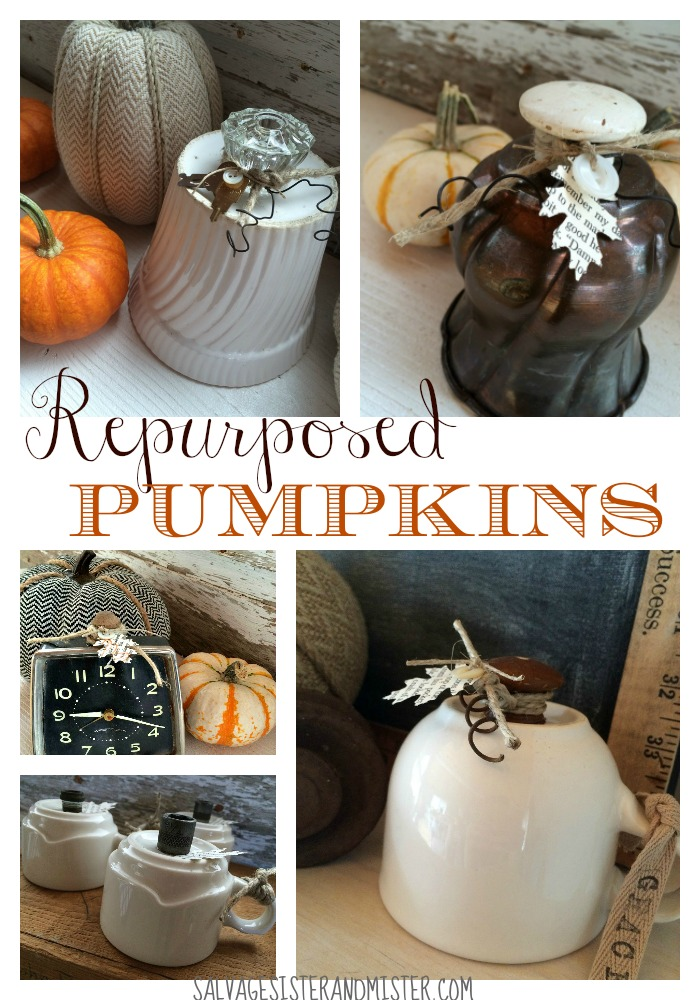 Turn old stuff over and add a stem and you have yourself some repurposed pumpkins. This DIY project couldn't be easier. Plus it upcycles things you may not want anymore to something new. Waste not want not. Come see how to make these for your thanksgiving/fall decorations.