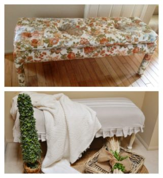 This old bench was turned from trash to treasure. It's now a shabby chic piece of french country furniture. A great diy project to help use what you have and decorate your home.