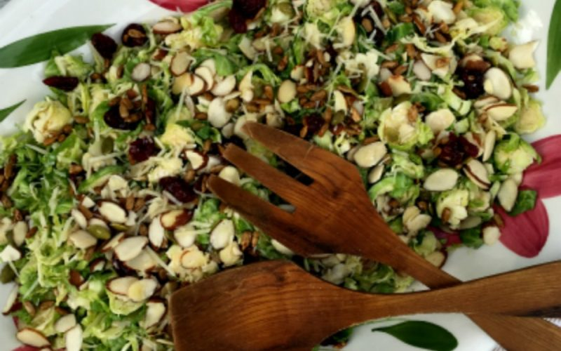 Easy Shaved Brussel Sprout and Cranberry Salad