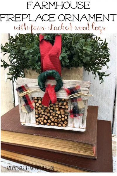 Farmhouse Fireplace Ornament with Stacked Wood