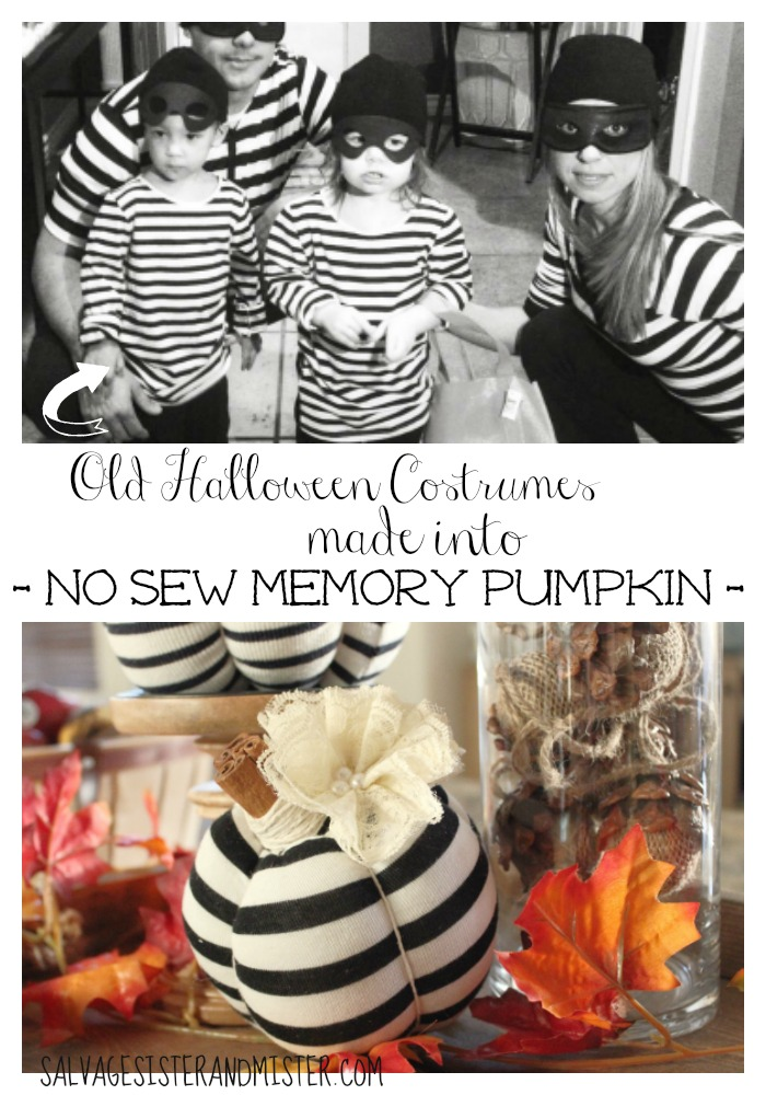 These no sew pumpkins were from previous years Halloween costrumes. Easy DIY makes use of old clothing. A great reuse or upcycle project. Also, this is a great way to hold unto precious memories. Memory keeper. Easy craft tutorial. Perfect for fall or Thanksgiving decor.